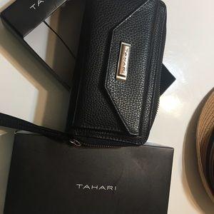 Tahari black wristlet.